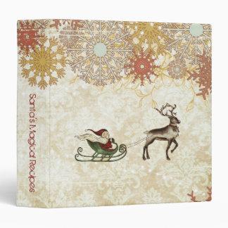 Vintage Santa Reindeer Vinyl Binder