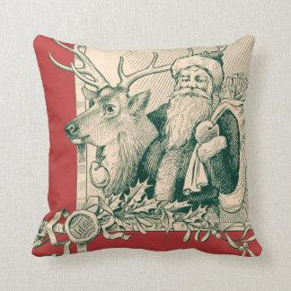 Vintage Santa Reindeer Christmas Saint Nick Throw Pillows