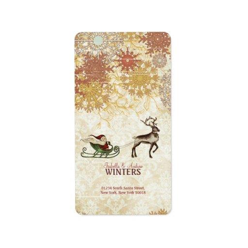 Vintage Santa & Reindeer Custom Address Label