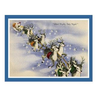 Vintage Santa & Reindeer Postcard
