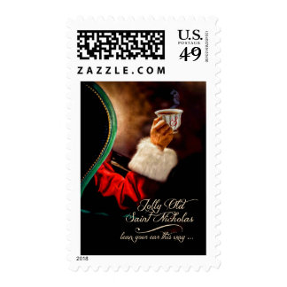 Vintage Santa Relaxing | Christmas Postage Stamp
