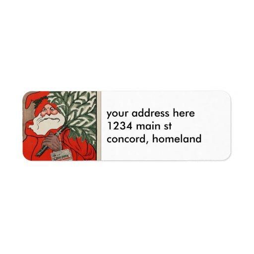 Vintage Santa Return Address Labels