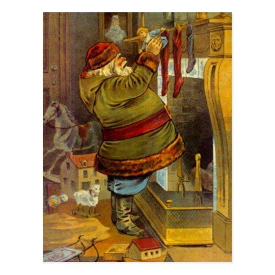 Vintage Santa rustic woodland stuffing stockings Postcard