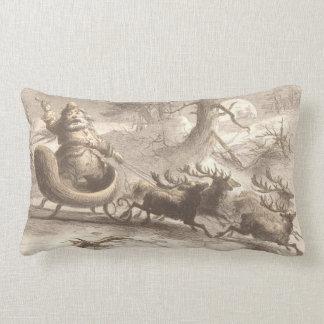 Vintage Santa Singing with Reindeer Lumbar Pillow