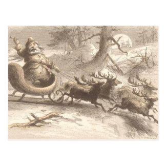 Vintage Santa Singing with Reindeer Postcard