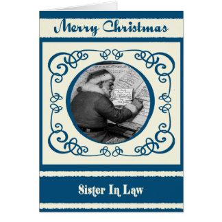 Vintage Santa Sister In Law Christmas Card