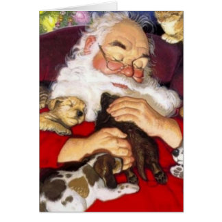 Vintage Santa Sleeping With Puppies Card