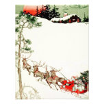 Vintage Santa Sleigh and Reindeer in Snow Custom Invites