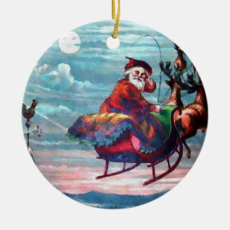 Vintage Santa Sleigh Print Ceramic Ornament
