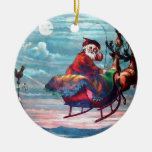 Vintage Santa Sleigh Print Ornaments