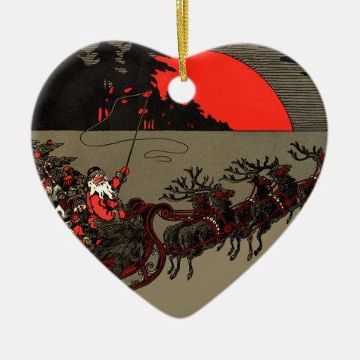 Vintage Santa Sleigh Red Moon Ceramic Ornament