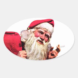 Vintage Santa Smoking Cigarette Oval Sticker