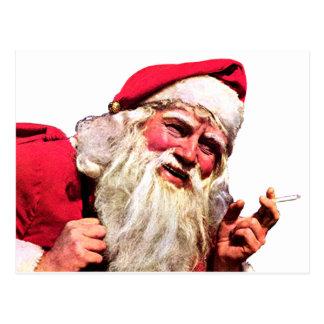 Vintage Santa Smoking Cigarette Postcard