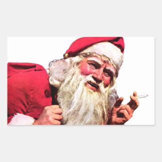 Vintage Santa Smoking Cigarette Rectangular Sticker
