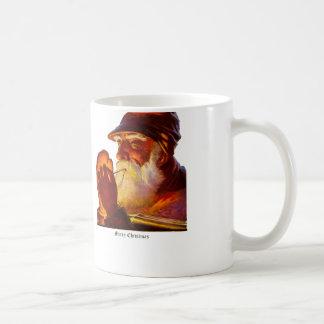 Vintage Santa Smoking Pipe Hunter Classic White Coffee Mug