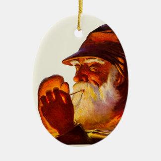 Vintage Santa Smoking Pipe Hunter Christmas Ornaments