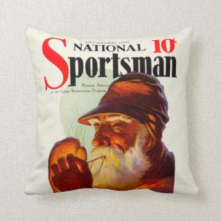 Vintage Santa Smoking Pipe Hunter Throw Pillow