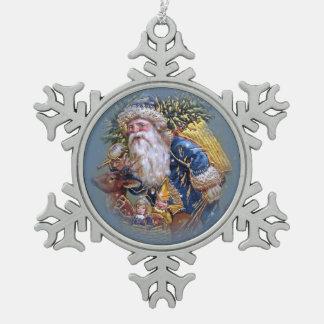 Vintage Santa Snow Flake Ornament