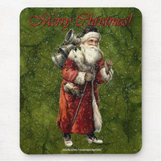 Vintage Santa & Snow Merry Christmas Gift Mousepad