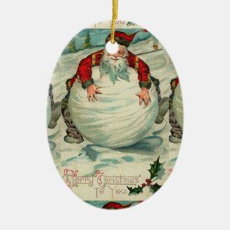 Vintage Santa Snowball Ceramic Ornament