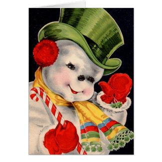 Vintage Santa Snowman Card