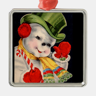 Vintage Santa Snowman Christmas Metal Ornament