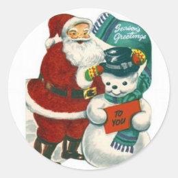vintage Santa snowman Christmas winter holiday art Classic Round Sticker