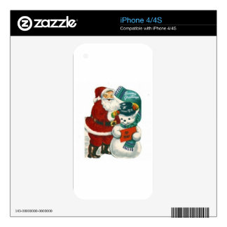 vintage Santa snowman Christmas winter holiday art Decal For The iPhone 4