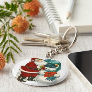 vintage Santa snowman Christmas winter holiday art Keychain
