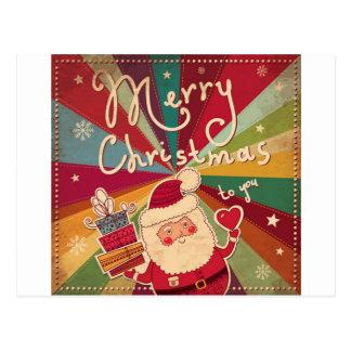 vintage Santa snowman Christmas winter holiday art Postcard