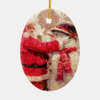 Vintage Santa Snowman Scene Ceramic Ornament