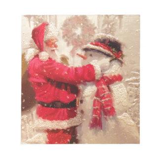 Vintage Santa Snowman Scene Notepad