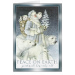 Vintage Santa Snowy Forest Winter Animals Greeting Card