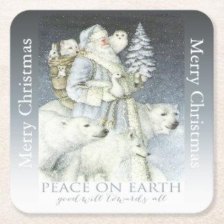 Vintage Santa Snowy Forest Winter Animals Square Paper Coaster