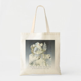 Vintage Santa Snowy Forest Winter Animals Tote Bag