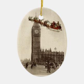 Vintage Santa sobre el navidad Ornamet de BigBen L Ornamento De Navidad