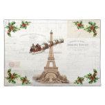 Vintage Santa sobre el navidad Placemat de París Mantel Individual