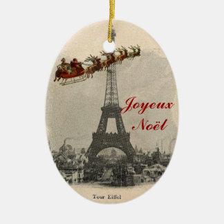 Vintage Santa sobre el ornamento del navidad de Adorno Ovalado De Cerámica