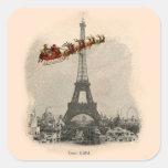 Vintage Santa sobre el pegatina del navidad de