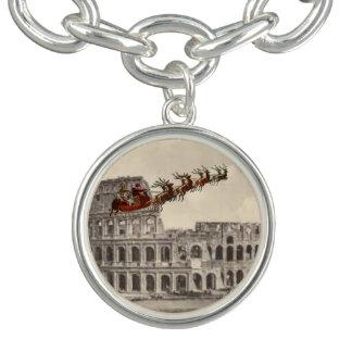 Vintage Santa sobre encanto del navidad de Roma Pulseras Con Dijer