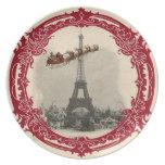 Vintage Santa sobre la placa del navidad de París Platos De Comidas