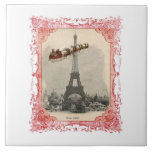 Vintage Santa sobre la teja de París Trivet