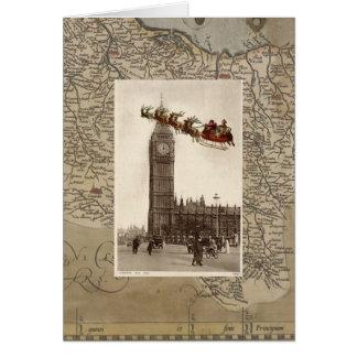 Vintage Santa sobre tarjeta de Navidad de Big Ben