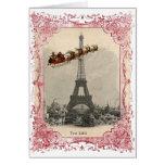 Vintage Santa sobre tarjeta de Navidad de París