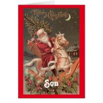 Vintage Santa Son Christmas Card