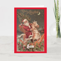 Vintage Santa Son Christmas Holiday Card