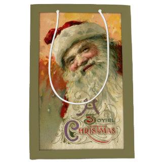Vintage Santa sonriente personalizado Bolsa De Regalo Mediana