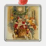 Vintage Santa Square Metal Christmas Ornament