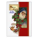 Vintage Santa, tarjeta de Chistmas del acebo para