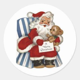 Vintage Santa, Teddy Bear Christmas Sticker